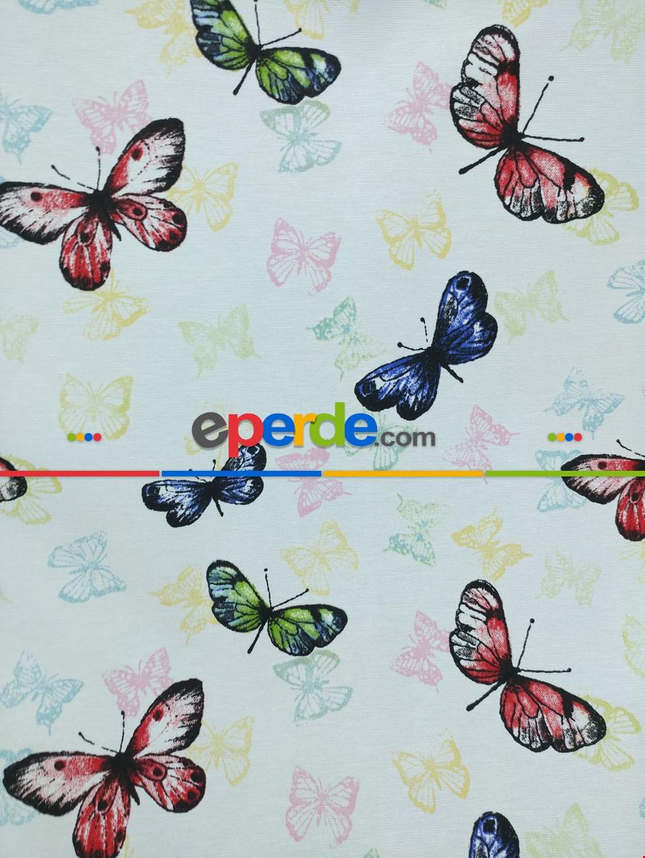 Kelebek Desenli Baskılı Fon Perde