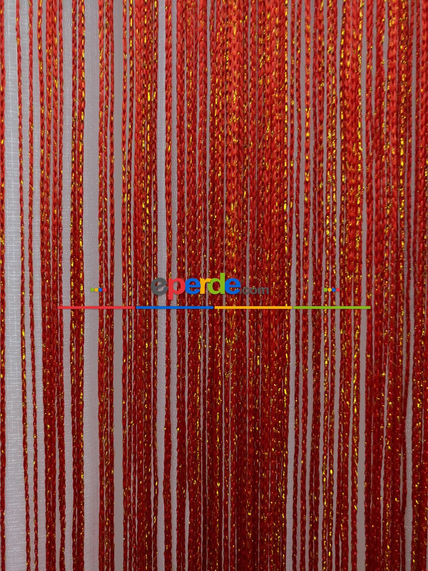 Kırmızı ( Altın Simli ) - İp Perde Simli Seri