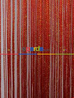 Kırmızı ( Altın Simli ) - İp Perde Simli Seri- Kırmızı-Altın Simli