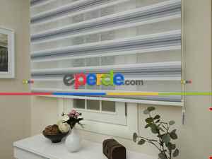 Salon Zebra - Zebra Perde - Degrade Renk Geçişli Pileli Zebra Perde- Gri Açık-Gri Koyu