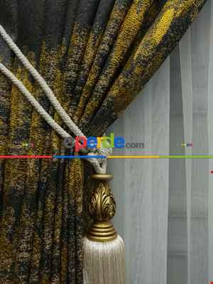Salon Fon Perde Açık Krem - Düz Jakar Fon Perde (180)- Hardal