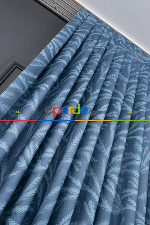 Geniş En (100x270) Sık Pile Mavi Zemin Tek Kanat Yaprak Desen Perde 100cm X 270cm