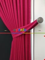 Gri Düz Renk Dökümlü Fon Perde (150)- Gri Fuşya