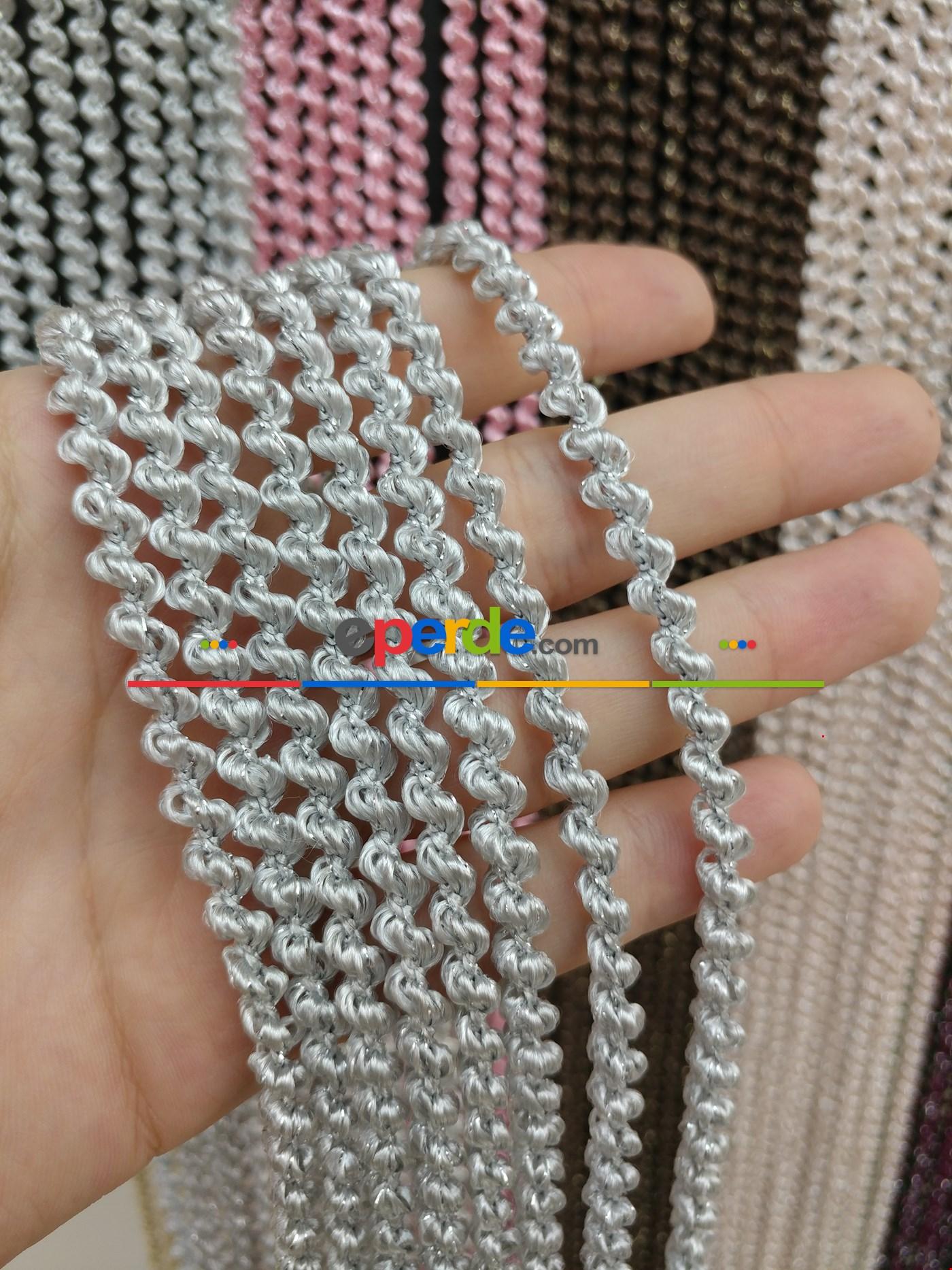 Pembe Rengi İp Perde Bukle Serisi Gri - Gümüş