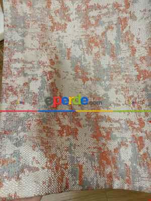 Bej Kiremit Desenli Jakar Fon Perde (180cm En)- Gri-füme-antrasit-kiremit Rengi