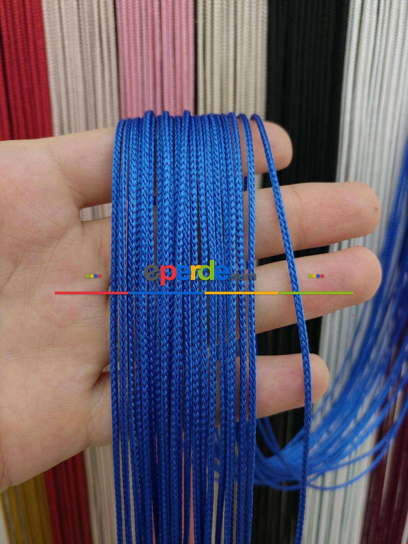 Krem Rengi İp Perde Kalın Zincir Serisi Mavi