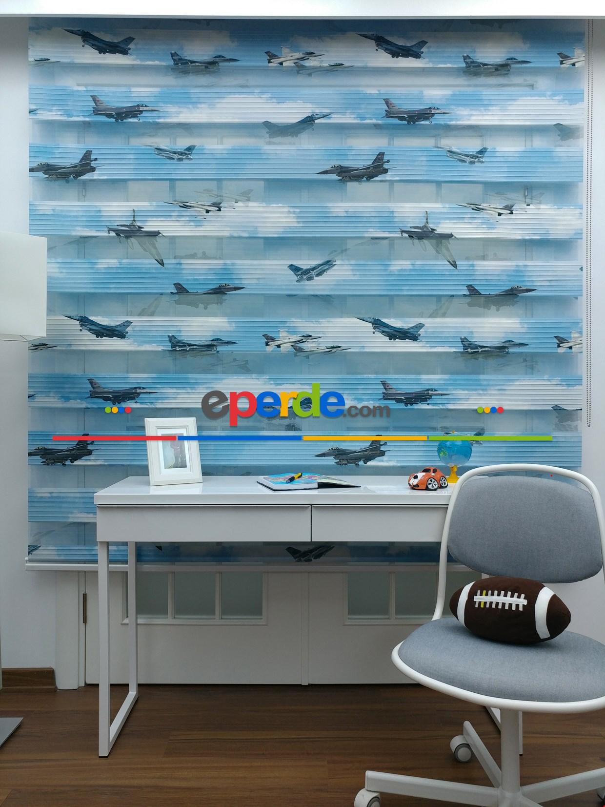Uçak Desenli Erkek Çocuk Zebra Perde Özel Seri