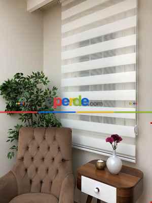 Salon Zebra Perde - Yüksek Kalite Plise Zebra Perde - Ekru Renk- Ekru