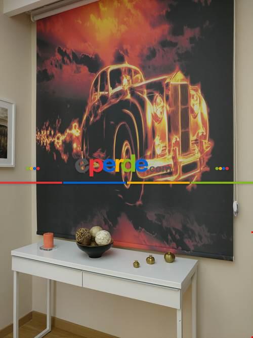 Ateş Saçan Araba Desenli Dijital Baskılı Stor Perde Erkek Çouk Odası Perdesi