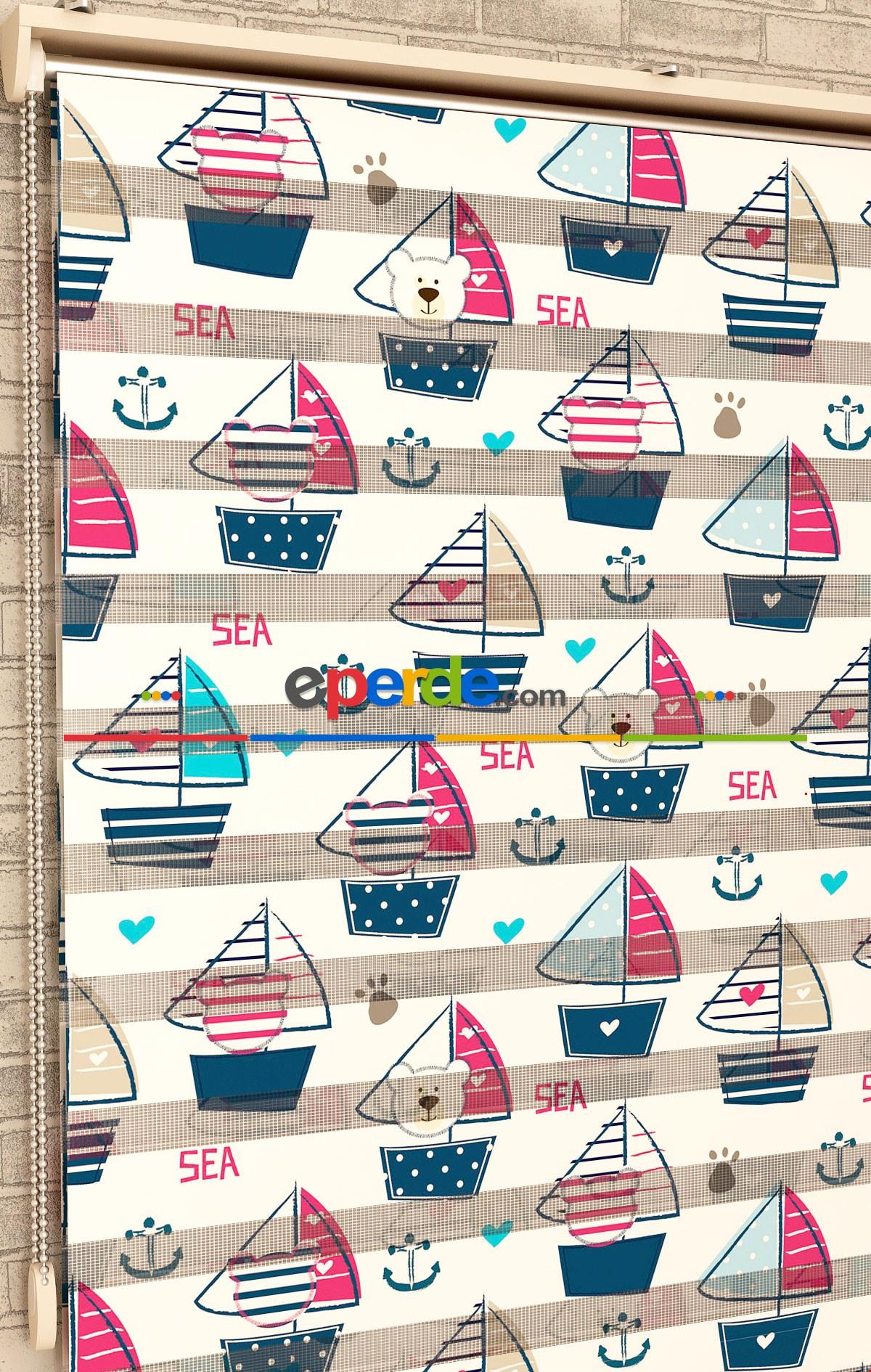 Gemi Desen - Baskılı Zebra Perde
