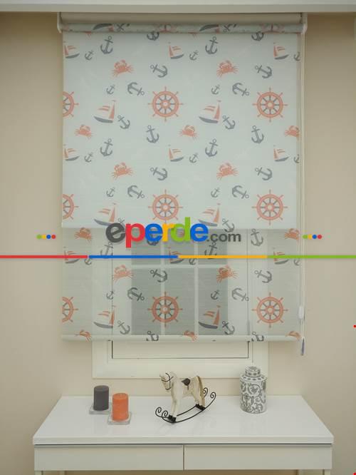 Bebek Odası - Çiftli Sistem Tül Stor Perde- Mavi Açık