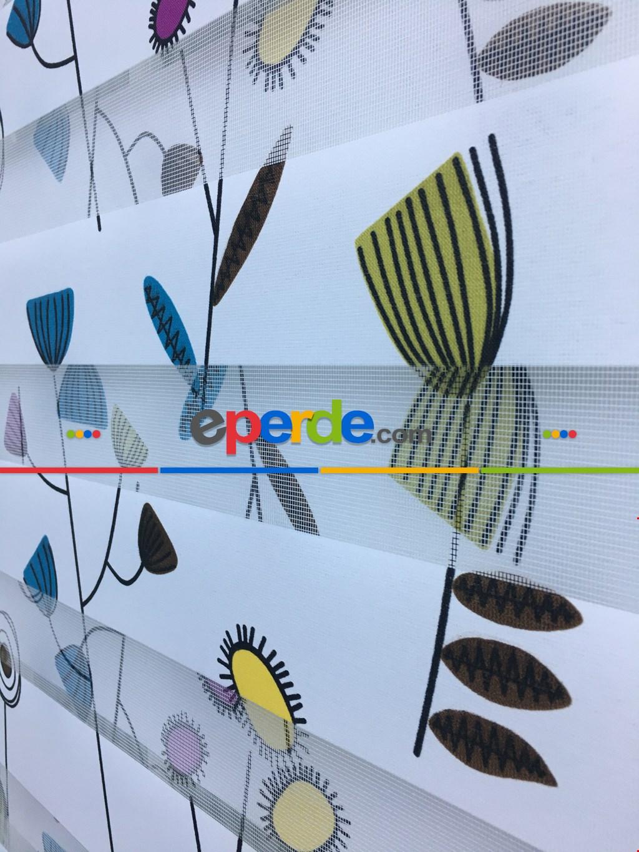 Çiçek Desenli Zebra Perde