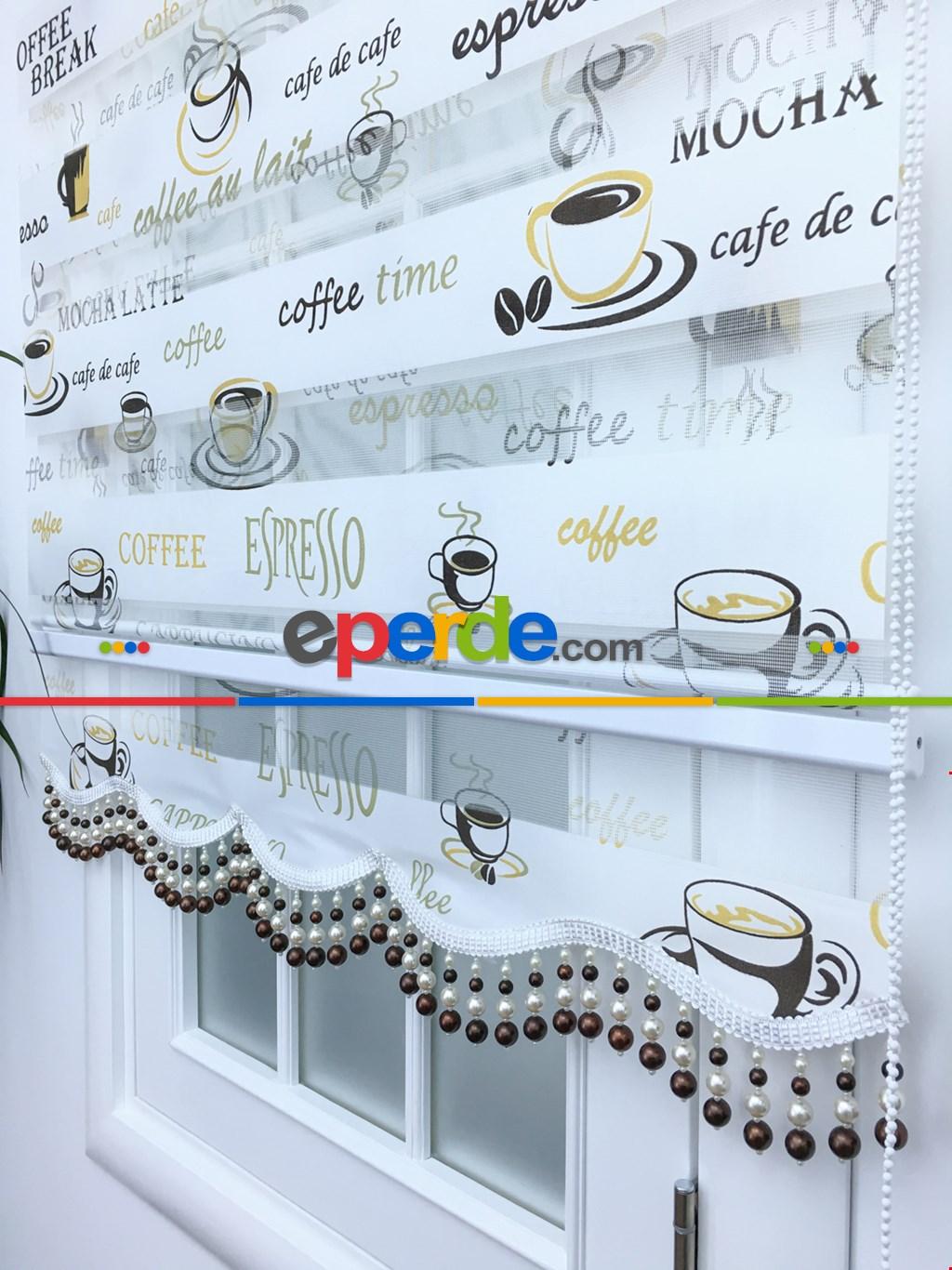 Caffee Desen Mutfak Zebra Perde 12-768