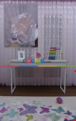 Kelebek Desenli Kız Çocuk Odası İçin Tül Perde Pembe