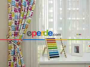 Çocuk Odası Fon - Baykuş Desenli Fon Perde Modelleri- Mavi