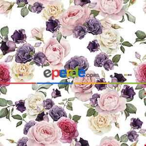 Çiçek Desenli Fon Perde Evm672 Kumaşı Kalındır Duck Bezi Değildir- Beyaz-Pembe Açık