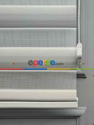 Salon Zebra Perde - 2021 Sezonu - Degrade Renk Geçişli Micro Pileli (pilise) Zebra Perde- Beyaz