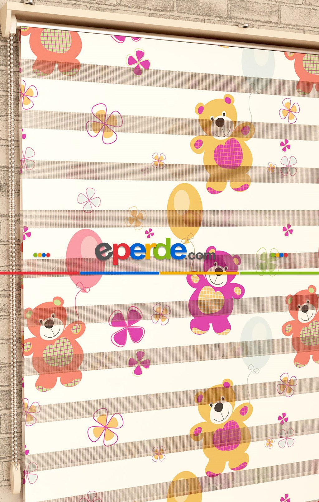 Renkli Ayıcıklar Ve Balonlar - Baskılı Zebra Perde