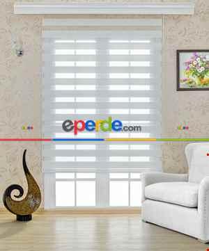 Salon Zebra Perde - Beyaz Bambu Zebra Perde- Beyaz