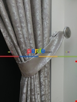 Gri Mint Desenli Jakar Fon Perde (180cm En)- Gri-füme-antrasit-mint Gri Füme Antrasit - Krem