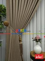 Brillant Keten Açık Vizon Renk Düz Fon Perde 180cm- Açık Vizon Krem