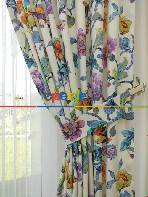 Sarmaşık Çiçek Desenli Fon Perde ( Leke Tutmaz )- Çok Renkli 3