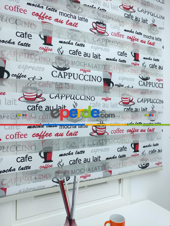 Siyah Kırmızı Capuccino Mutfak Zebra Perde ( Ücretsiz Etek Dilim )