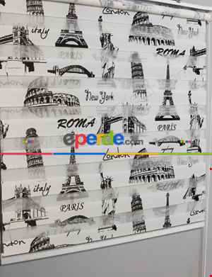 Kız Çocuk Perde - Roma Paris Baskılı Zebra Perde- Siyah