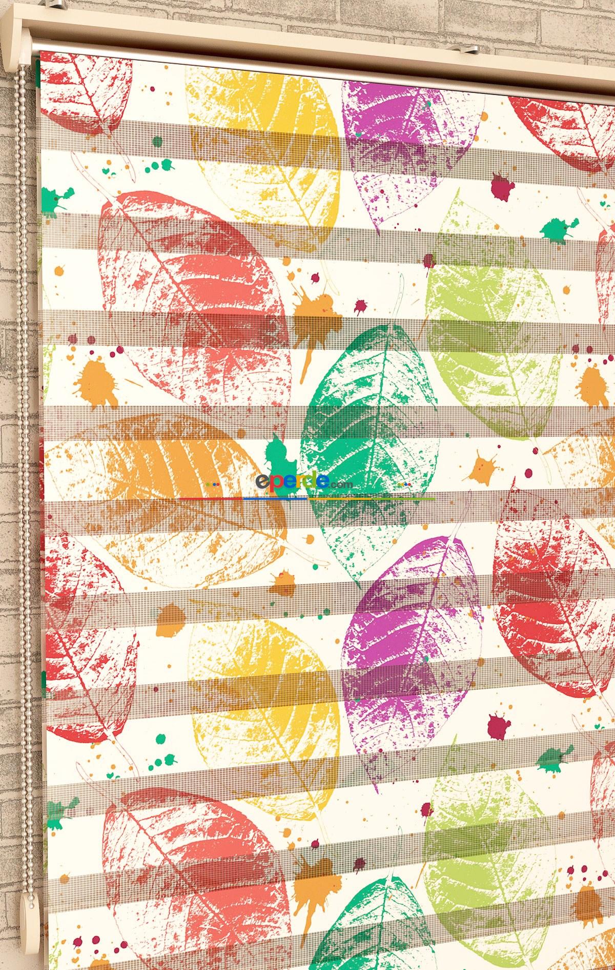 Renkli Yaprak Desen - Baskılı Zebra Perde