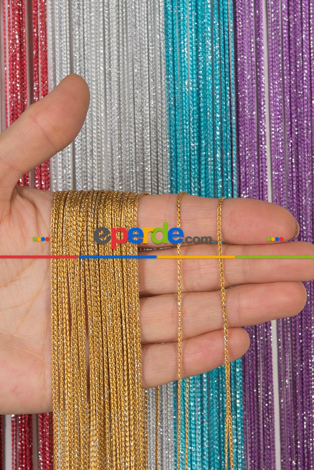 İnce Zincir Seri İp Perde Gold Gümüş- Gümüş Simli-roze Gold