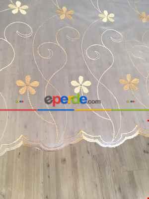 Çiçek Desenli Brode İşlemeli Tül Perde - En Uygun Fiyat Garantisi- Çok Renkli 2