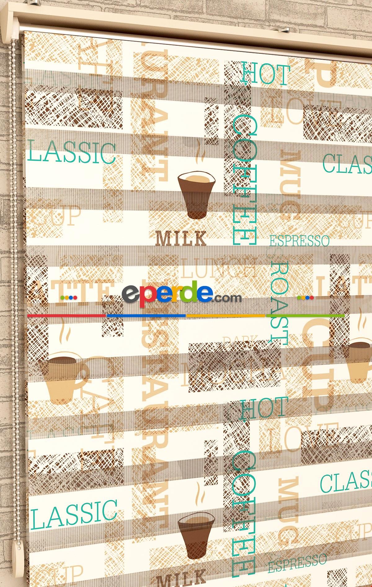 Espresso Desen - Baskılı Zebra Perde