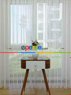 Mutfak - Zincir Desenli Düz Lüx Armür Tül Perde - Yüksek Gramajlı - (ütü Gerektirmez)- Ekru