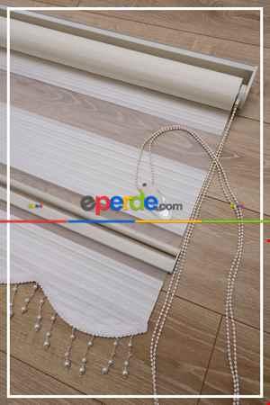 Salon Zebra - Yüzde 40 İndirimli Kampanyalı Plise Zebra Perde (1.kalite 0 Orijinal Ürün)- Beyaz-Ekru