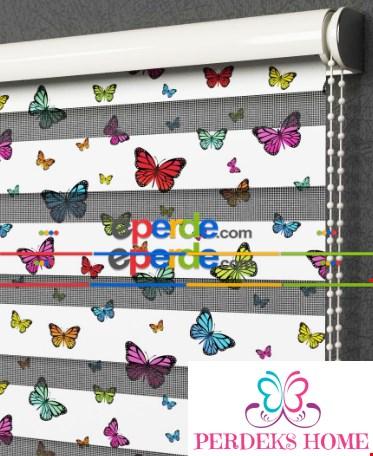 Kelebekli Zebra Perde-  Çok Renkli 3