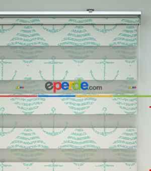 Bebek Odası Zebra Perde - Çapa Baskılı Zebra Perde- Krem Açık-Su Yeşili