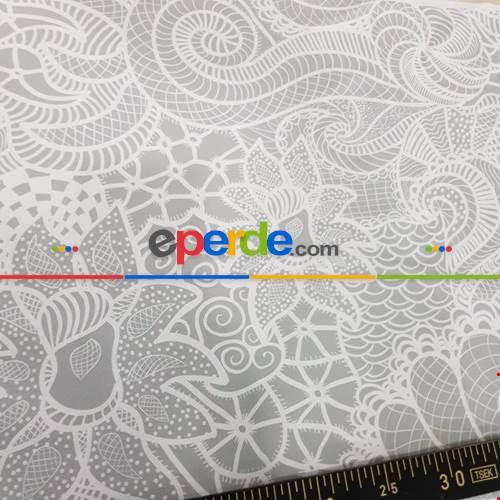 Dantel Desenli Fon Perde Evm1153 Kumaşı Kalındır Duck Bezi Değildir- Gri-Füme-Antrasit-Beyaz Buz Beyazı