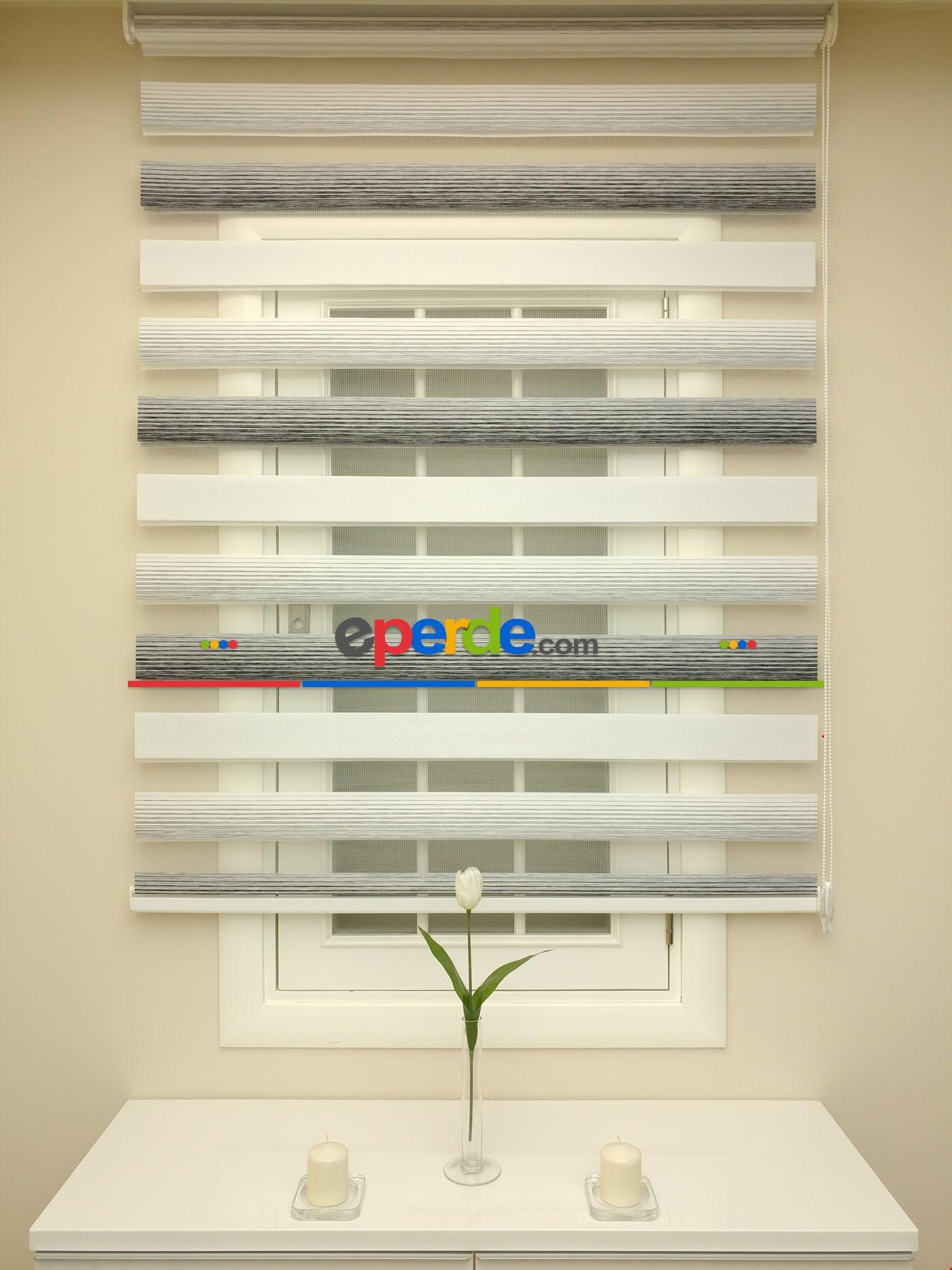 Zebra Perde - Caprice A.gri-antrazit Renk Bambu (geçiş Zeminli)