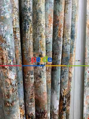 Modern Desenli Fon Perde 3 - ( Kalın Pamuklu Kumaş)- Siyah-mavi-füme-ekru-hardal Sarısı-turkuaz Yeşili Ara Renk