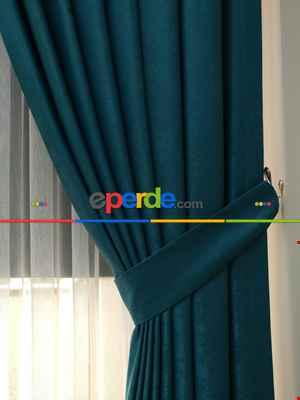 Soft Petrol Yeşili Fon Perde (180)- Petrol Mavisi