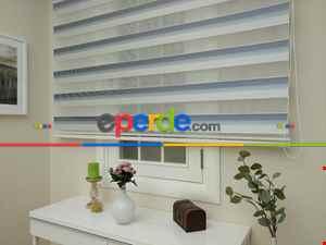 Salon Zebra - Zebra Perde - Micro Pilise - Degrade Renk Geçişli Zebra Perde- Mavi Doymamış-Mavi Grimsi-Ekru