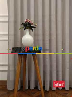 Brillant Örme Dantel Gri Renk Yüksek Gramajlı Dökümlü Tül Perde- Gri Açık
