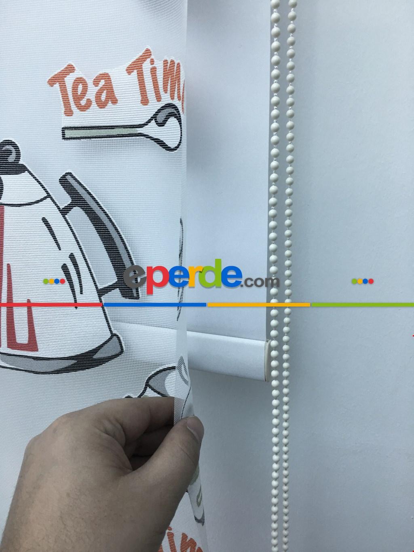 Çiftli Sistem Tül Stor Perde Çay Zamanı Yazılı