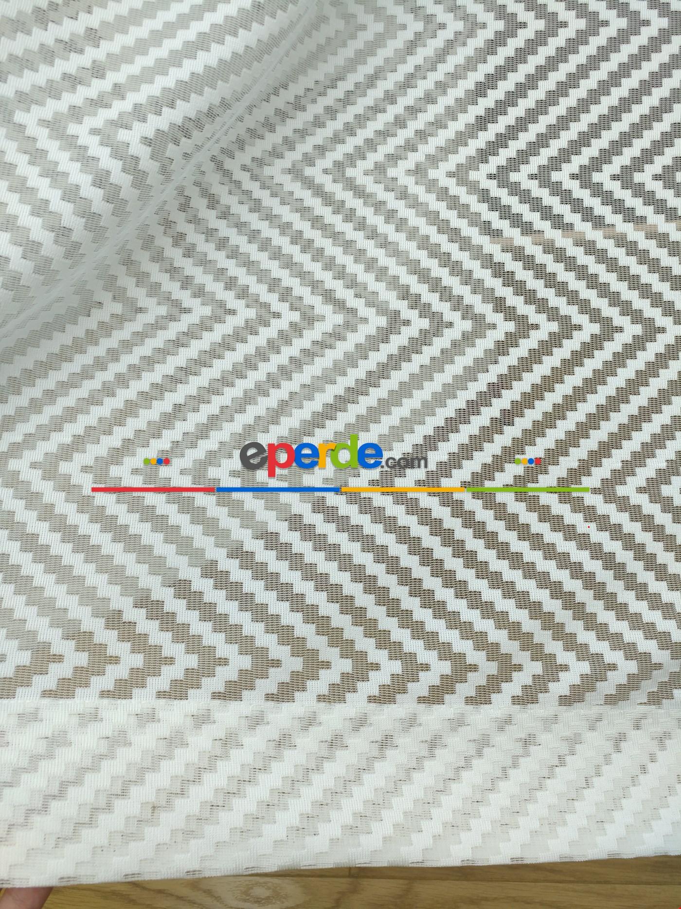 Geometrik Desenli Tül Perde Etek Katlamalı
