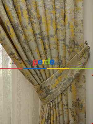 Bej Hardal Desenli Jakar Fon Perde (180)- Hardal Sarısı