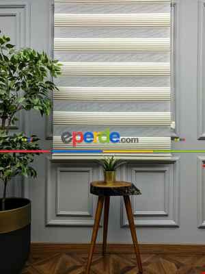 Salon Zebra Perde - 2021 Sezonu - Degrade Renk Geçişli Geniş Pileli (plise) Perde- Vizon Rengi