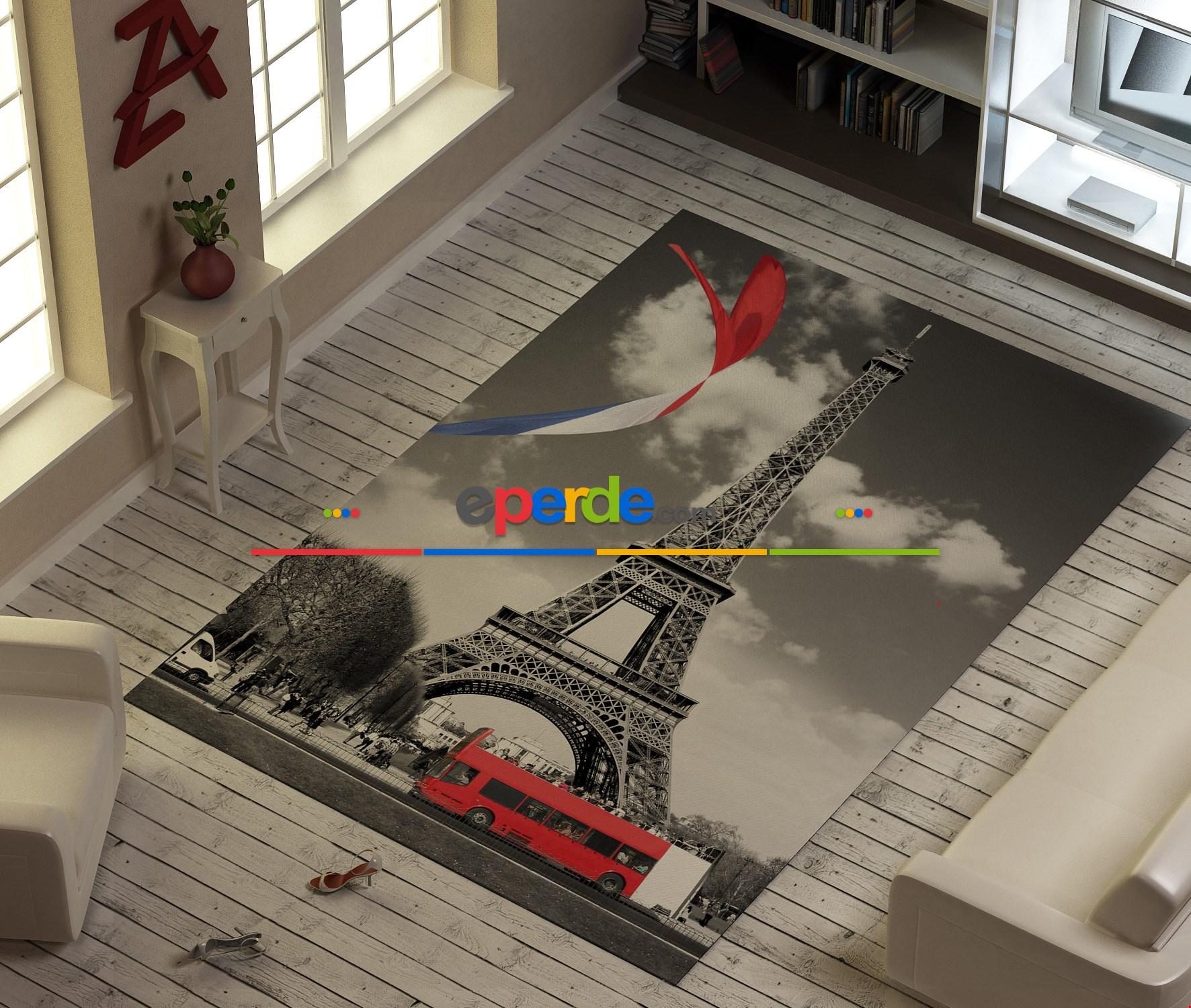 Paris Eyfel Kulesibaskılı Halı