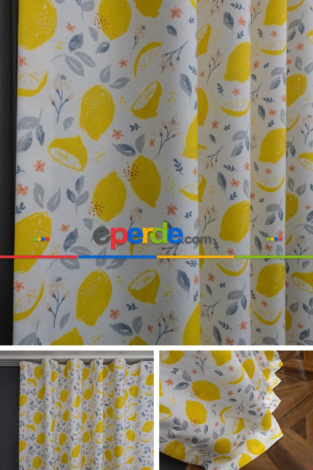 Mutfak - Sarı - Gri Limon Desenli Fon Perde