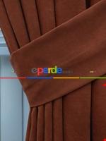 Kahverengi Düz Fon Perde (280 Eninde)- Kahverengi Kiremit Rengi
