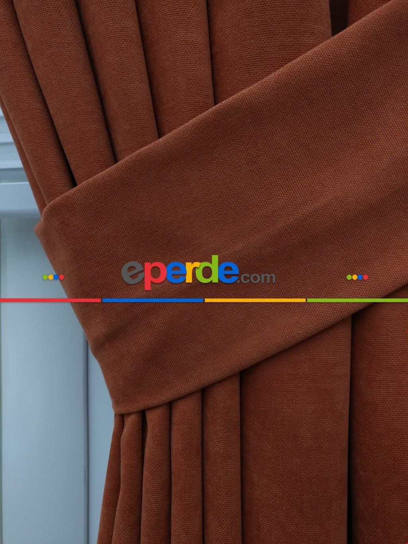 Kiremit Rengi Düz Fon Perde (280 Eninde)- Kiremit Rengi